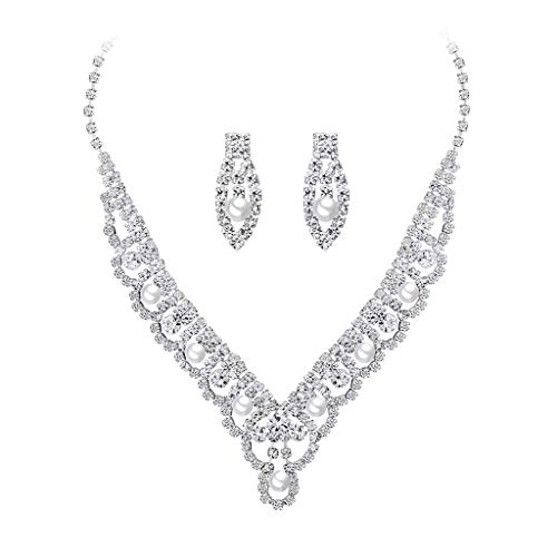 Fashion Charming Mother Gift White Gold Clip Diamond High-Grade Copper Necklace Earrings Set