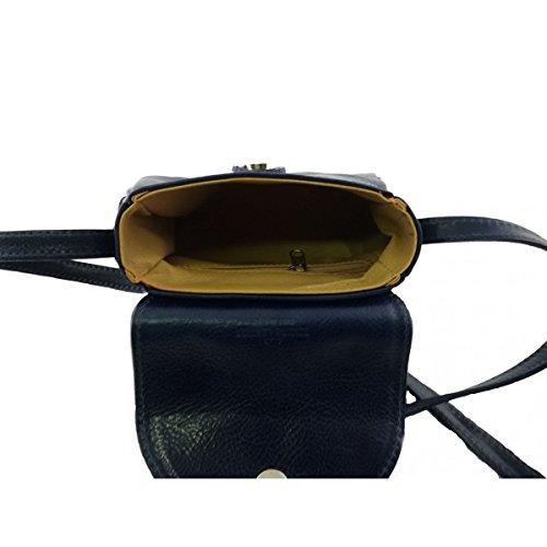Mini Borsa Donna A Tracolla In Pelle Vera Colore Blu - Pelletteria Toscana Made In Italy - Borsa Donna