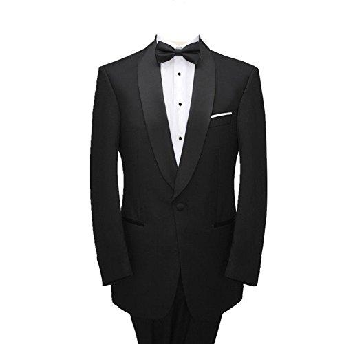 MYS Mens Custom Made Groomsman Tuxedo Suit Pants Bow Tie Set Classic Black