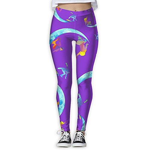 JCOE Yoga Moon Skateboard Lover Printed Women's Skinny Workout Running Yoga Pants Leggings Trousers