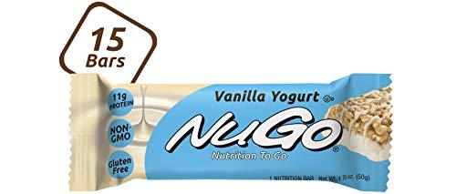 NuGo Protein Bar,  Vanilla Yogurt, 11g Protein, 170 Calories, Gluten Free, 15 Count