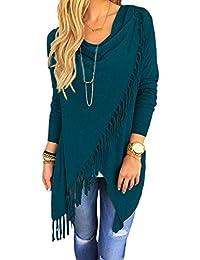Women Casual Long Sleeve Tassels Asymmetric Sweater Coat Outwear