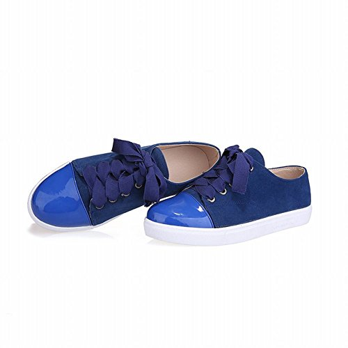 Latasa Womens Fashion Lace-up Low-heel Skate Shoes, Oxfords Shoes Blue