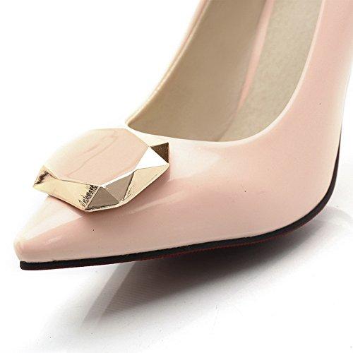 Balamasa Dames Spikes Stilettos Puntig Teen Laag Uitgesneden Bovenwerk Urethaan Pumps-schoenen Roze