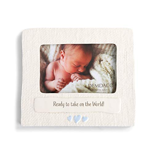 (DEMDACO Ready to Take On The World Baby Blue 8 x 7 Ceramic Earthenware Photo Frame)