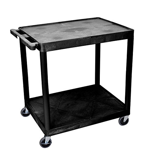 Luxor HE38-B Multipurpose 2 Shelves Storage Rolling Utility Cart – Black