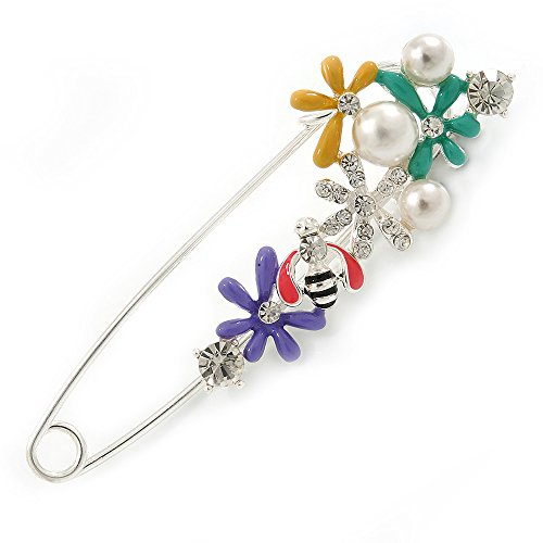 - Multicoloured Enamel Flowers, Bee, Simulated Pearls Safety Pin Brooch In Silver Tone - 80mm L