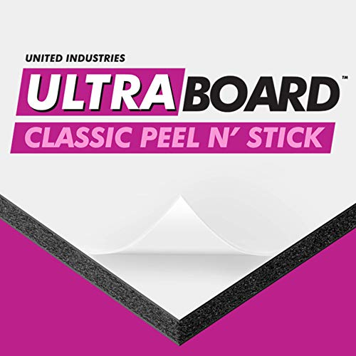 "Board 16in Foam - UltraBoard Classic Peel N' Stick - 1/2"" Thick Self-Stick Adhesive Polystyrene Foam Board or Mat Backer for Photo Mounting (10 Pack) (Black, 16"