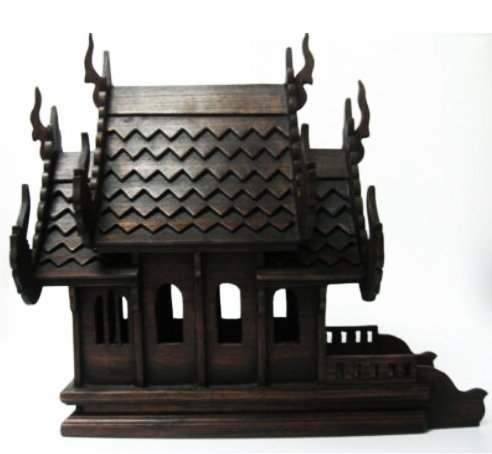 Thai Spirit House (Large Size) hand made wood carving Thai Vintage Design by Sandeko