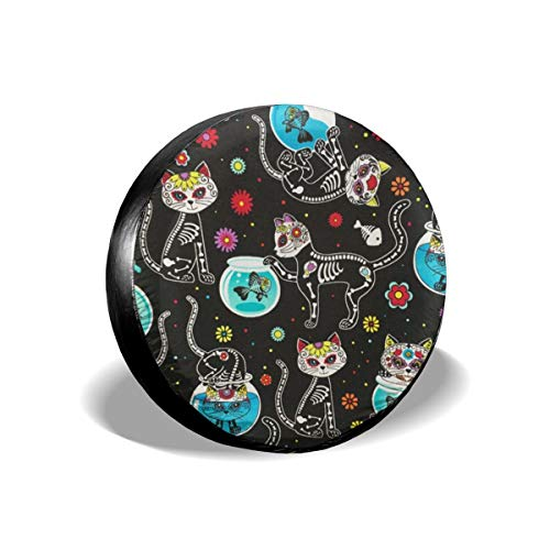 (HR.charm Tire Cover Sugar Skull and Cat Classic Accessories Fit Spare Tire Cover)