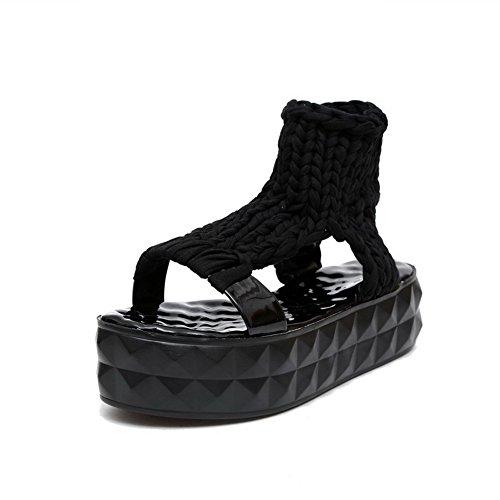 VogueZone009 Damen Blend-Materialien Rein Ziehen auf Offener Zehe Mittler Absatz Sandalen Schwarz
