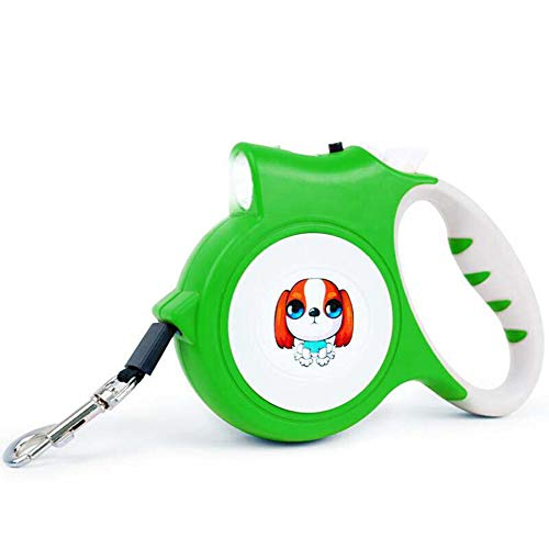 16' Full Slip - 5m Retractable Leash Nylon Tape Leash for Dog withBrake Button Lock and LED light device Comfortable Handle,for Cat and dog Under 40kg,green,5m