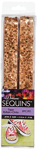 Darice Tape (Darice SEQ310D Hexagon and Square Shape Sequin Tape, 36-Inch, Rose Gold Color, 2-Pack)