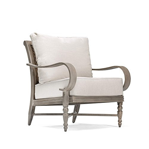 Blue Oak Outdoor Saylor Patio Furniture Stationary Lounge Chair with Outdura Remy Sand Cushion (Weathered Teak Finish)