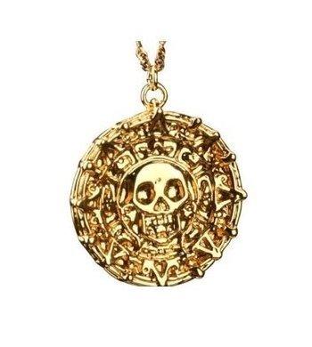 Fluch Der Karibik Inspired Gold Ton Münze Aztec Schädel Anhänger