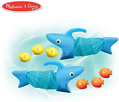 Melissa & Doug Sunny Patch Spark Shark Fish Hunt (Pool Game, 2 Nets, 6 Fish Sinkers  to Catch)