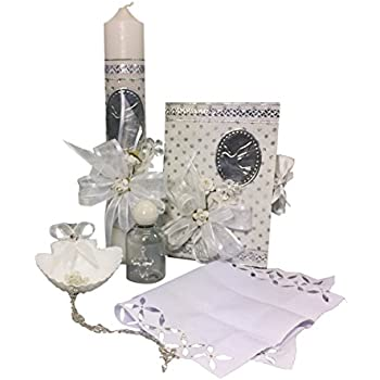 Spanish Handmade Christening/Baptism Set for Girl, Boy, or Unisex Including: Candle, Bible, Dry Cloth, Sea Shell, Rosary and Holy Water Bottle –Bautizo ...