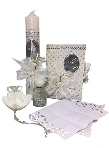 Spanish Handmade Christening/Baptism Set for Girl, Boy, or Unisex Including: Candle, Bible, Dry Cloth, Sea Shell, Rosary and Holy Water Bottle –Bautizo Religious Gift (White)