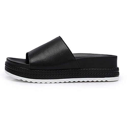 Camel Mujeres Single Strap Slip On Slide Sandalias Flip Flop Plataforma Footbed Zapatillas Negro