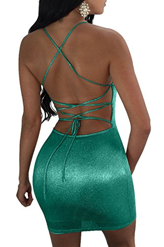 Mujeres De De Espaguetis Plain Vendaje Shiny Hot Cut Vestido Green Backless Low Correas Bodycon 8nwUr8BIYq