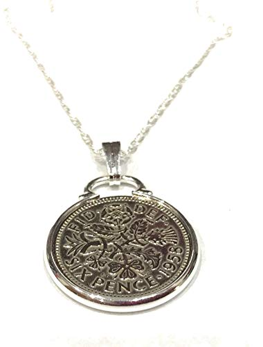 Cinch Pendant 1959 Lucky Sixpence 60th Birthday Plus a Sterling Silver 20in Chain