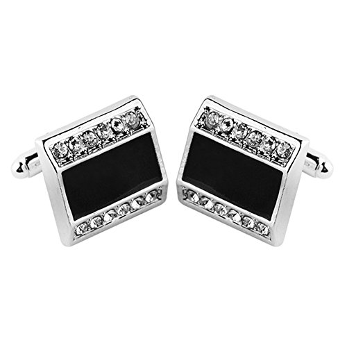 (MayLove Swarovski Crystal Element Classical Square Tuxedo Shirt Cufflinks for Men Wedding Business)