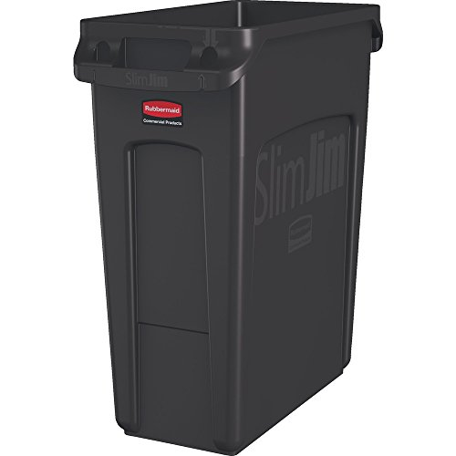 Rubbermaid Commercial Products Slim Jim Trash Can Waste Receptacle with Venting Channels, 16 Gallons, Brown (1956181)