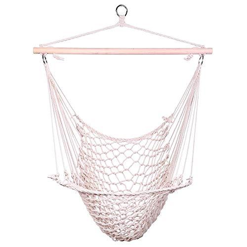 OnCloud Hammock Chair Cotton Hanging Rope Air Sky Chair Swing for Indoor Outdoor Garden Yard Beige