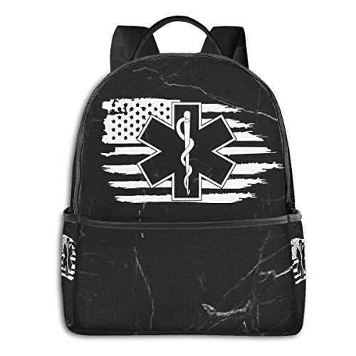 American Flag EMS Star Of Life EMT Paramedic Men And Women Work Backpack Travel Backpack School Backpack Laptop Backpack