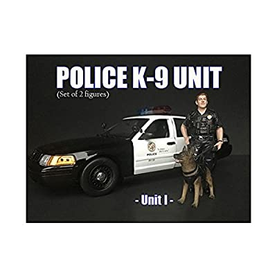 American Diorama Police Officer Figure with K9 Dog Unit I for 1/24 Scale Models: Toys & Games