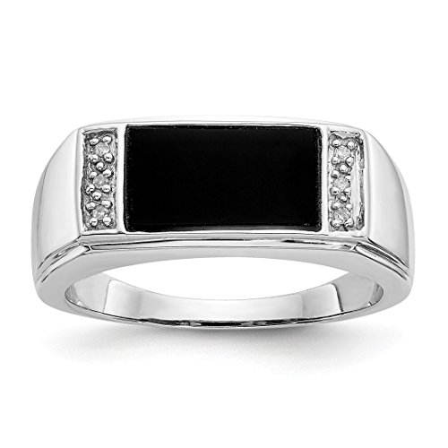 (ICE CARATS 14kt White Gold Black Onyx A Diamond Mens Band Ring Size 10.00 Man Fine Jewelry Dad Mens Gift Set)