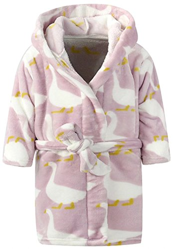 Ameyda Children's Unisex Swan Animal Pajamas Costume Fleece Bath Robe With Hood -