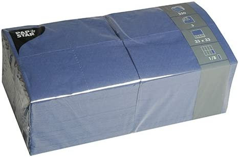 PAPSTAR 84576 - Juego de 250 servilletas (Pliegue 1/8, 33 x 33 cm, 3 Capas), Color Azul Oscuro: Amazon.es: Hogar