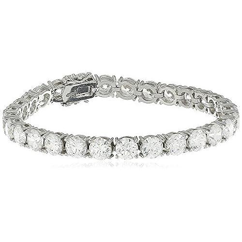 "wholesale Platinum or Gold-Plated Sterling Silver Round-Cut Swarovski Zirconia Tennis Bracelet, 7¼"" length big discount"