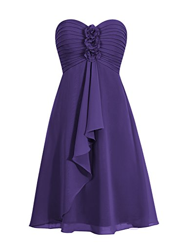 with Sweetheart AlN09 Bridesmaid Womens Anlin Cute Chiffon Homecoming Dress Flowers Purple Dress xpwO8x5Cqa