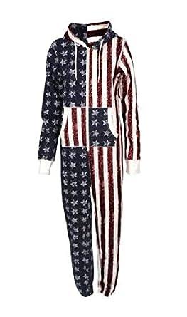 83c06e2a2d9d Girls Boys Unisex Onesie USA Flag Print Jumpsuit Stars   Stripes Hooded Zip  Up All In