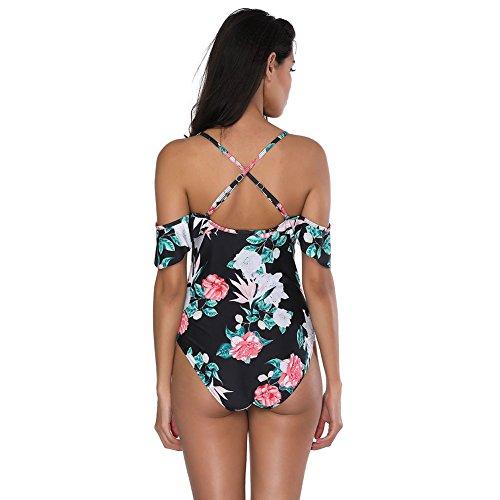 FeelinGirl Monokini Bikini Retro Badeanzug Einteiler Tankini Bademode Badeanzug One Shoulder Swimwear Swimsuit Lotosblatt-schwarz NSAwee8