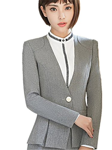 - JIANGTAOLANG Women Blazer Formal Long Sleeve Slim V Neck One Button Office Plus Size Gray Blazer M