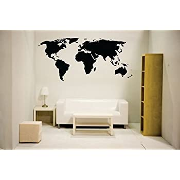 Amazon world map outline continents country nations europe newclew nc mp 1 world map wall decal vinyl art sticker home decor gumiabroncs Choice Image
