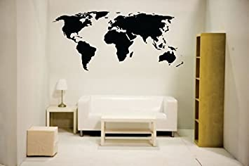 Newclew nc mp 1 world map wall decal vinyl art sticker home decor newclew nc mp 1 world map wall decal vinyl art sticker home decor large black wall decor stickers amazon gumiabroncs Image collections
