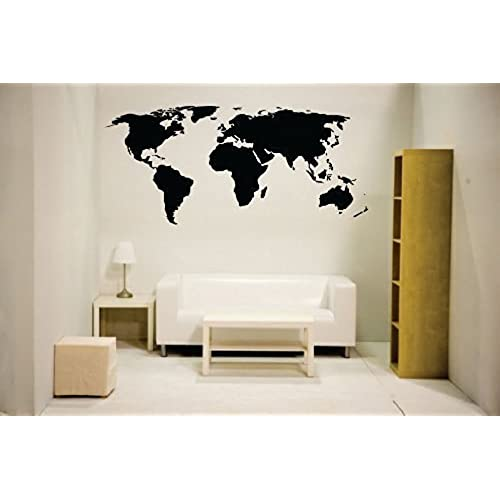 newclew nc mp 1 world map wall decal vinyl art sticker home decor large black