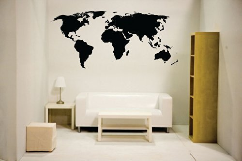Newclew NC-MP-1 World Map Wall Decal Vinyl Art Sticker Home Decor, Large, Black