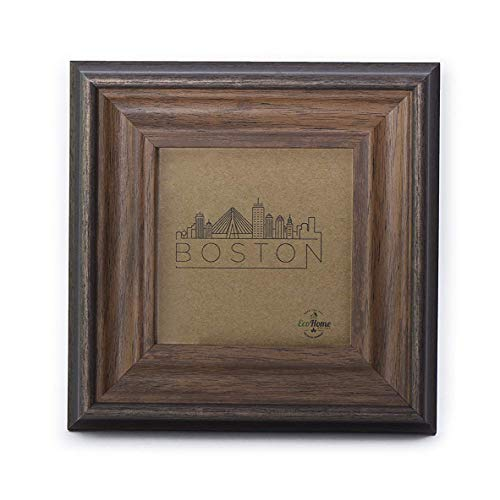 4x4 Picture Frame Brown - Square Tabletop Display or Hang, Brown Wood Finish - by EcoHome
