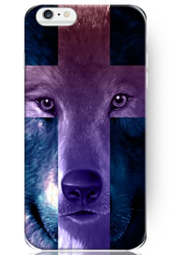Hard Protective Apple Iphone 6 Plus Case Cover 5.5 Inch Purple Wolf Cross Design