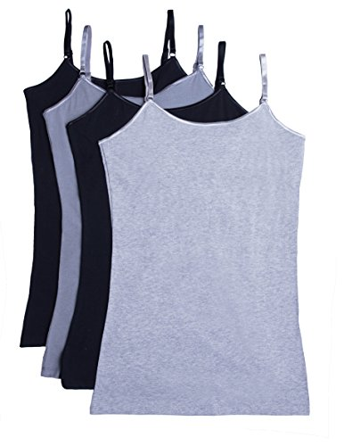 Caramel Cantina Shelf Bra Cami Tank-Top in Assorted Colors 4-Pack (X-Large, 2BLK/MHG/DG)