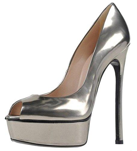 Party tacón Plataforma Mujeres peep Summer de toe básico aguja TAOFFEN de Sandals On de Silver Slip patente xOgnAnfWq