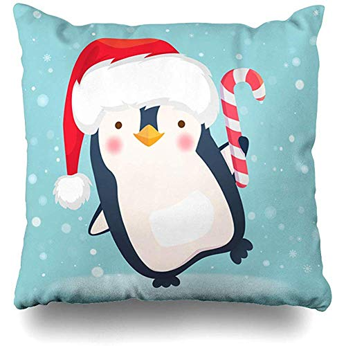 Throw Pillow Case Cushion Covers Penguin Blue Bird Christmas Holidays Xmas Candy Cane Celebration Character Cold Design Frozen Home Decor Square 18 x 18 Inch Zipper