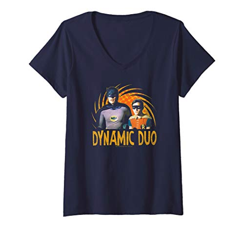 (Womens Batman Classic TV Series Dynamic Duo V-Neck T-Shirt )