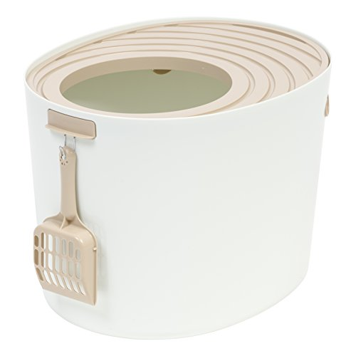 IRIS Medium Top Entry Cat Litter Box with Cat Litter Scoop, White & Beige