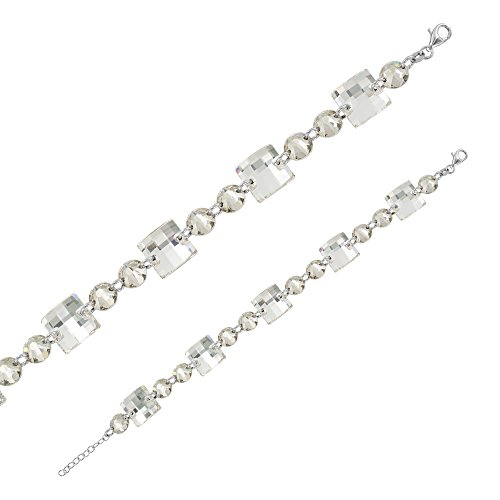 Monella - Bracelet 925/1000 rhodié Swarovski Elements - Blanc